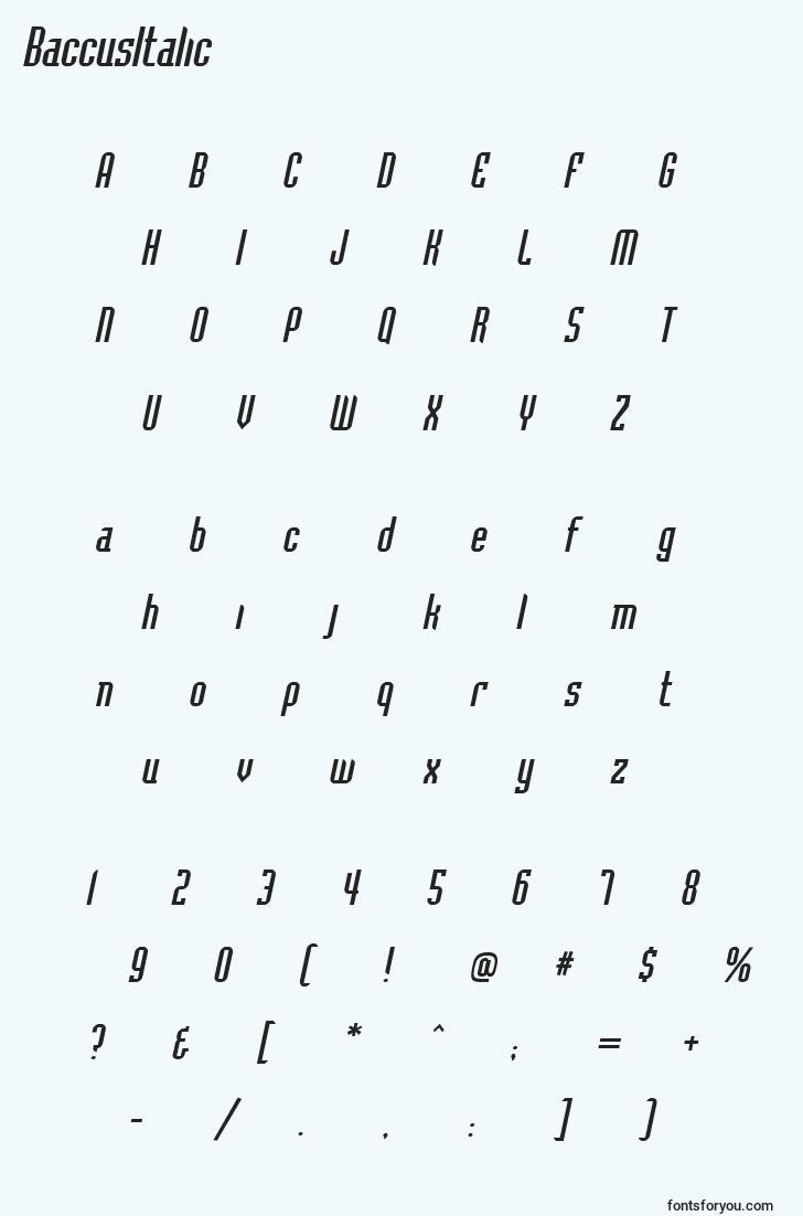 characters of baccusitalic font, letter of baccusitalic font, alphabet of  baccusitalic font