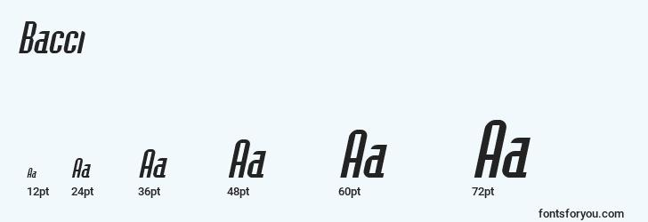sizes of bacci font, bacci sizes