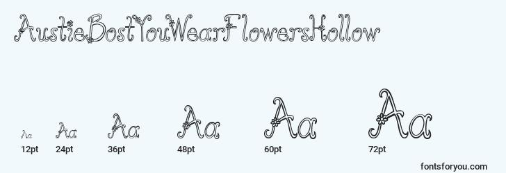 sizes of austiebostyouwearflowershollow font, austiebostyouwearflowershollow sizes