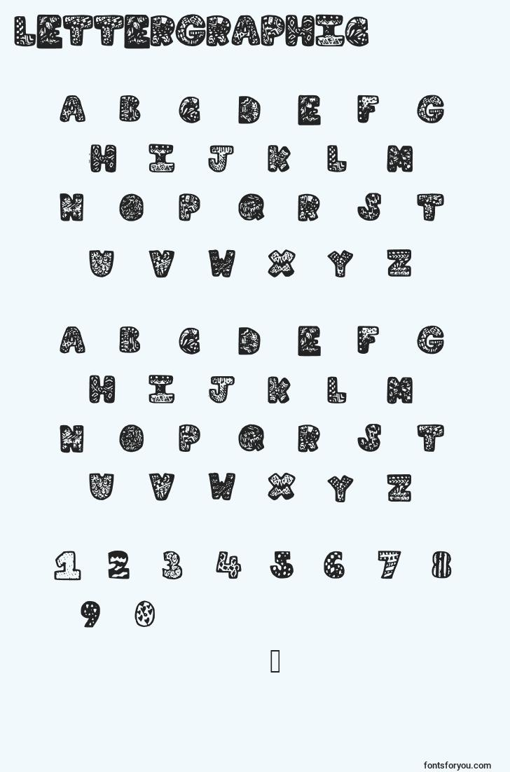 characters of lettergraphic font, letter of lettergraphic font, alphabet of  lettergraphic font