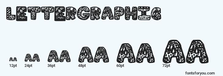 sizes of lettergraphic font, lettergraphic sizes