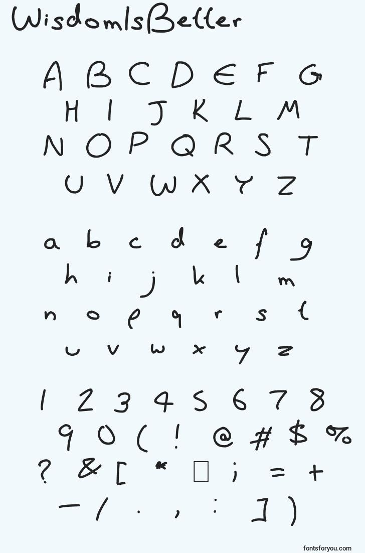 characters of wisdomisbetter font, letter of wisdomisbetter font, alphabet of  wisdomisbetter font