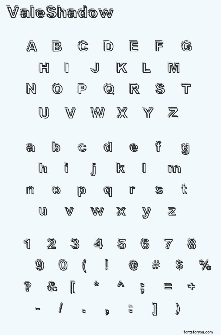 characters of valeshadow font, letter of valeshadow font, alphabet of  valeshadow font