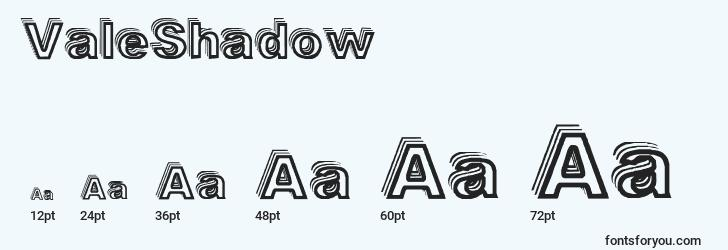 sizes of valeshadow font, valeshadow sizes