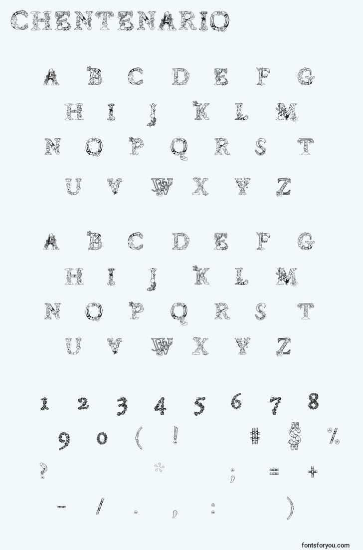 characters of chentenario font, letter of chentenario font, alphabet of  chentenario font