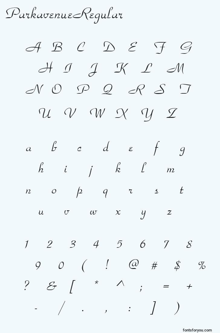 characters of parkavenueregular font, letter of parkavenueregular font, alphabet of  parkavenueregular font