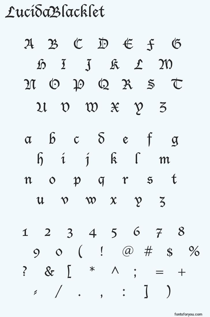 characters of lucidablacklet font, letter of lucidablacklet font, alphabet of  lucidablacklet font