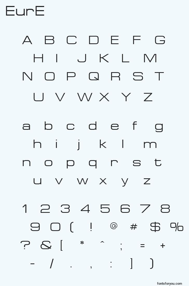 characters of eure font, letter of eure font, alphabet of  eure font