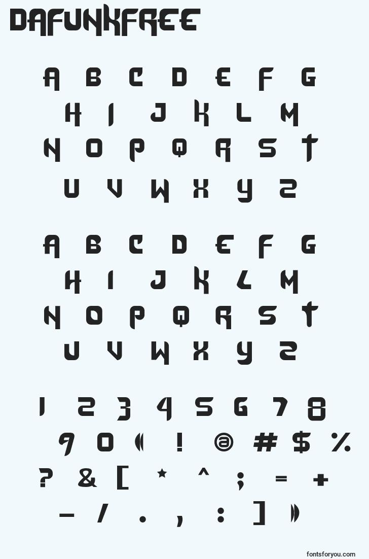 characters of dafunkfree font, letter of dafunkfree font, alphabet of  dafunkfree font
