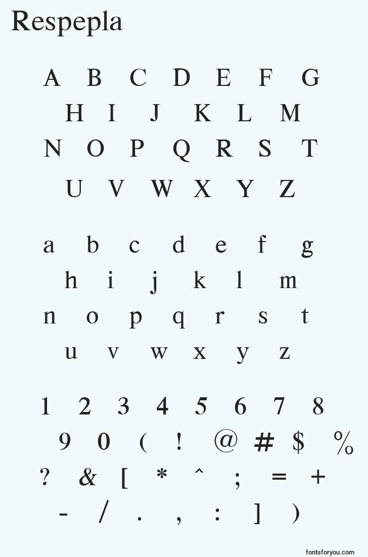 characters of respepla font, letter of respepla font, alphabet of  respepla font