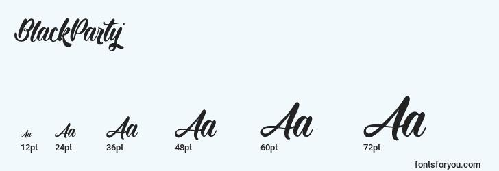 sizes of blackparty font, blackparty sizes