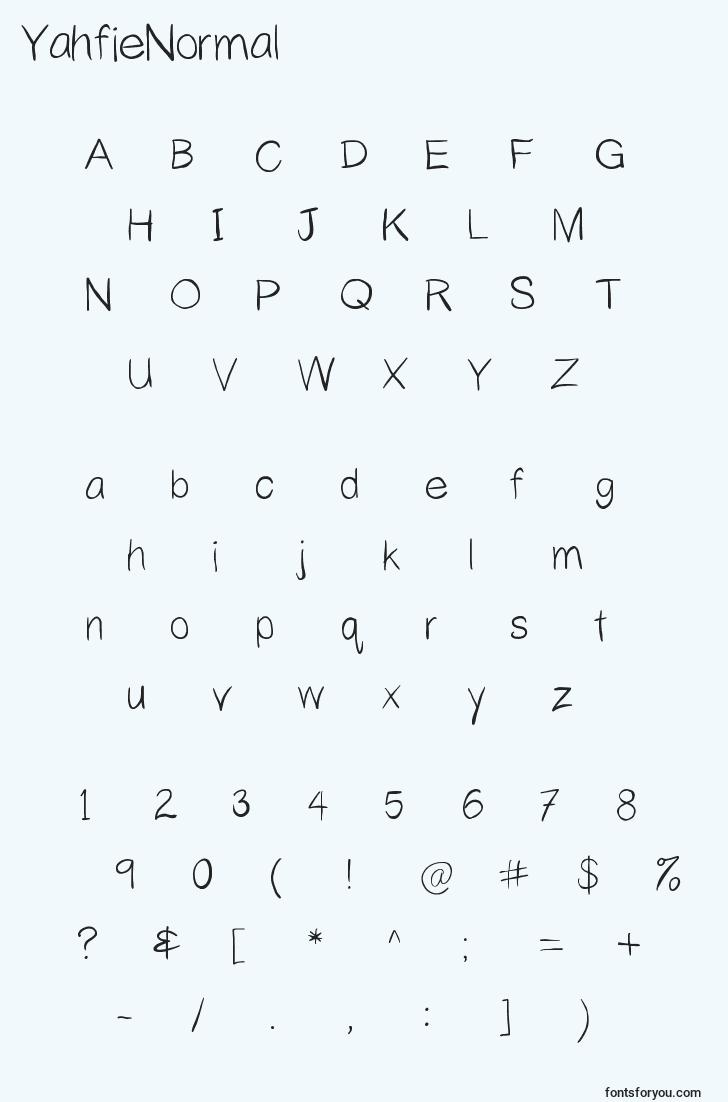 characters of yahfienormal font, letter of yahfienormal font, alphabet of  yahfienormal font