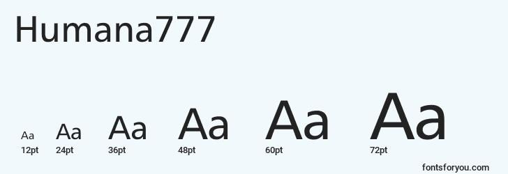 sizes of humana777 font, humana777 sizes