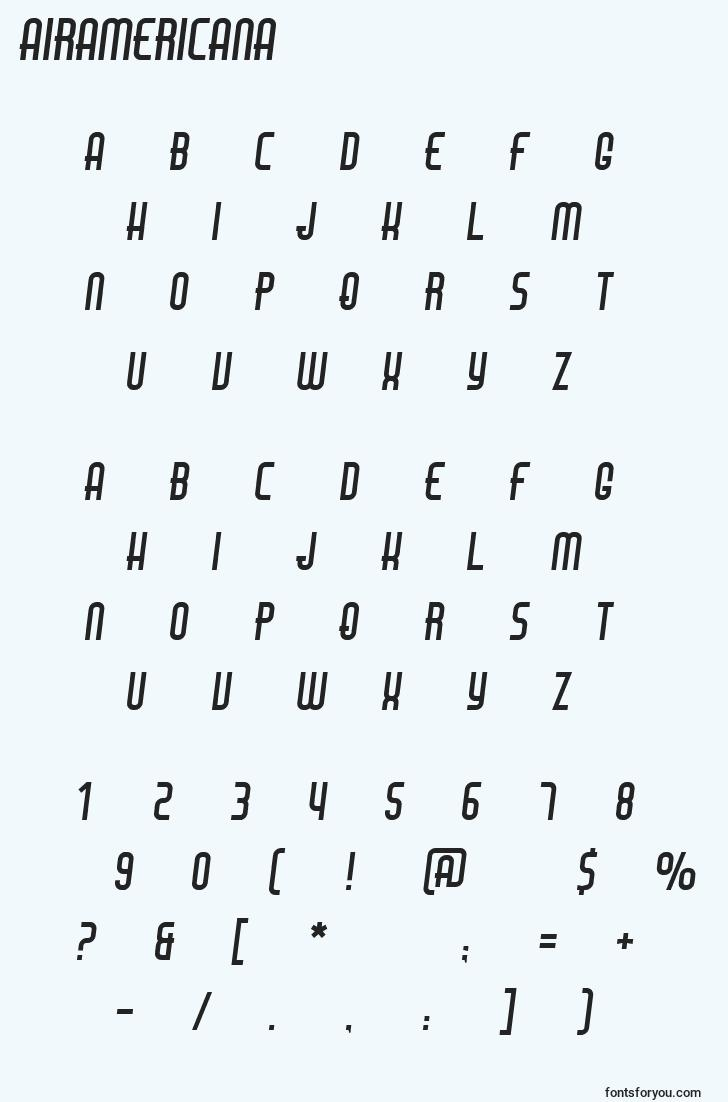 characters of airamericana font, letter of airamericana font, alphabet of  airamericana font