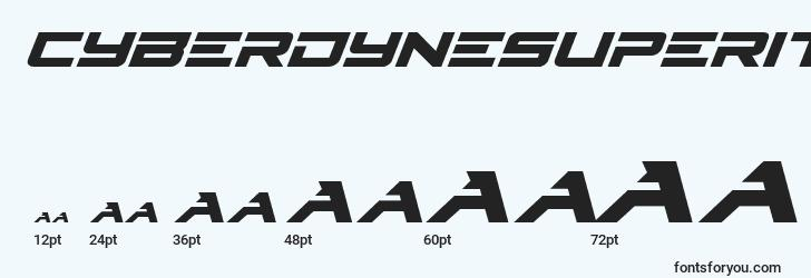 sizes of cyberdynesuperital font, cyberdynesuperital sizes