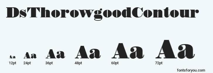 sizes of dsthorowgoodcontour font, dsthorowgoodcontour sizes