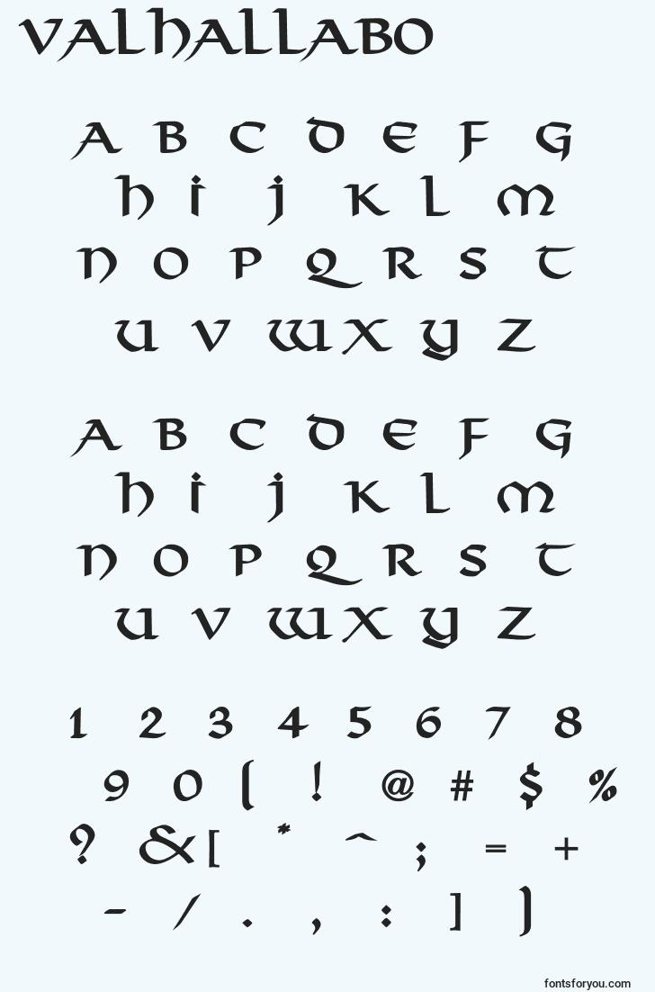 characters of valhallabo font, letter of valhallabo font, alphabet of  valhallabo font
