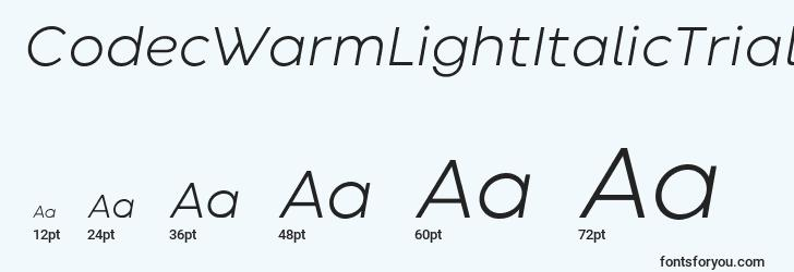 sizes of codecwarmlightitalictrial font, codecwarmlightitalictrial sizes