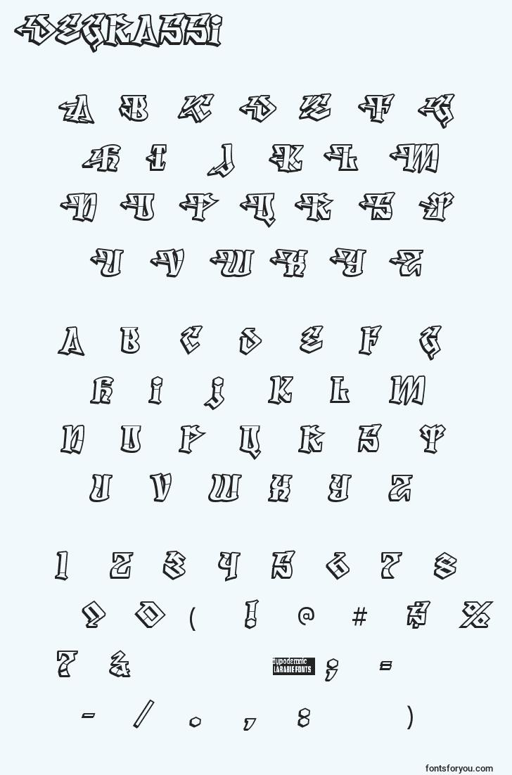 characters of degrassi font, letter of degrassi font, alphabet of  degrassi font