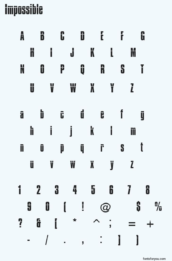 characters of impossible font, letter of impossible font, alphabet of  impossible font