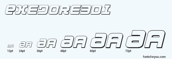 sizes of exedore3di font, exedore3di sizes