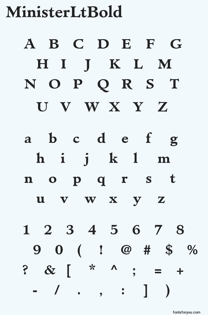 characters of ministerltbold font, letter of ministerltbold font, alphabet of  ministerltbold font
