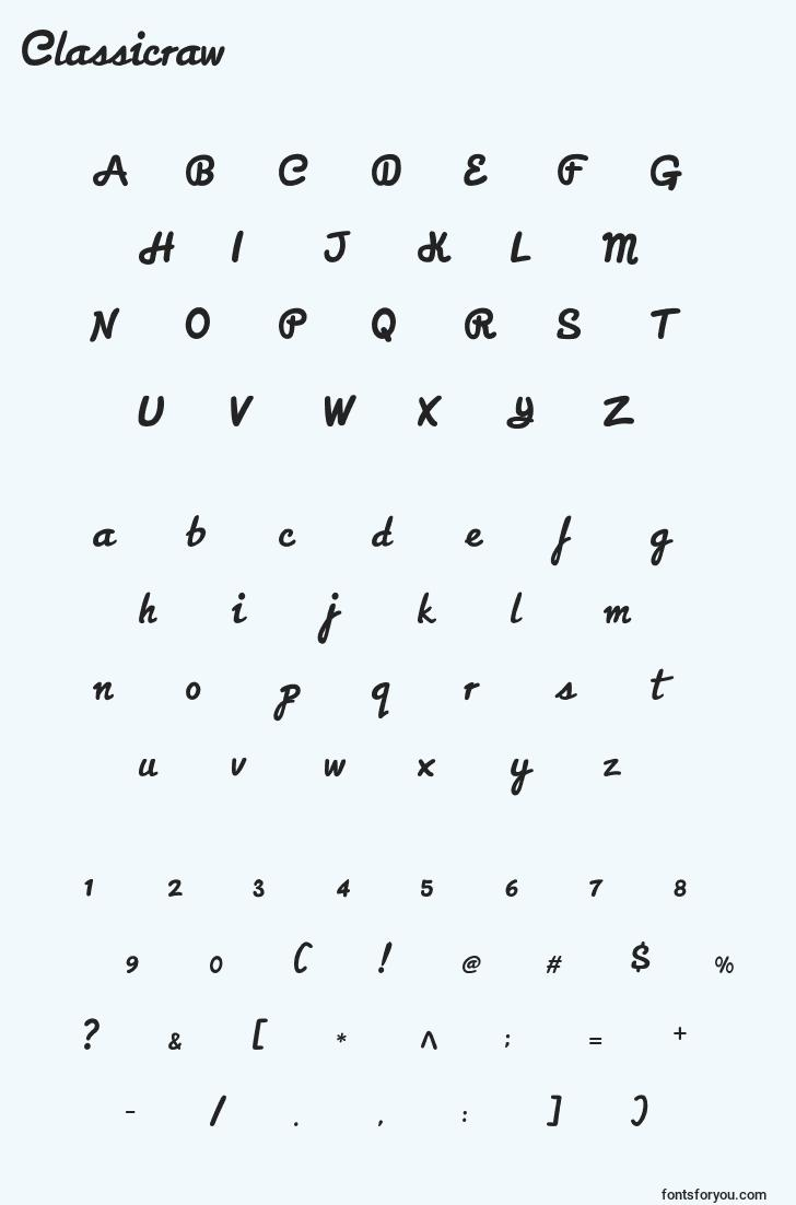 characters of classicraw font, letter of classicraw font, alphabet of  classicraw font