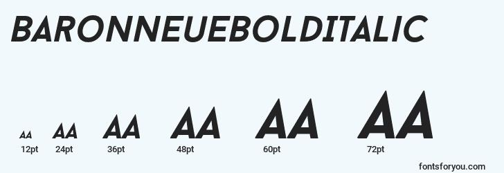 sizes of baronneuebolditalic font, baronneuebolditalic sizes