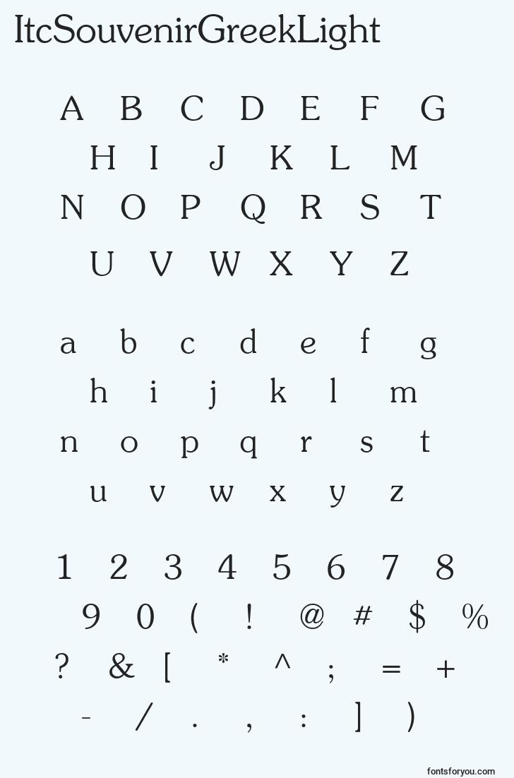 characters of itcsouvenirgreeklight font, letter of itcsouvenirgreeklight font, alphabet of  itcsouvenirgreeklight font