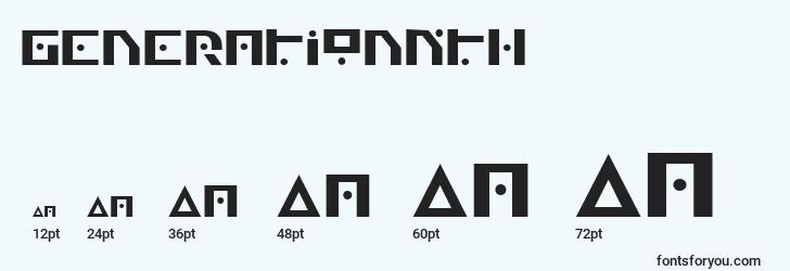 sizes of generationnth font, generationnth sizes