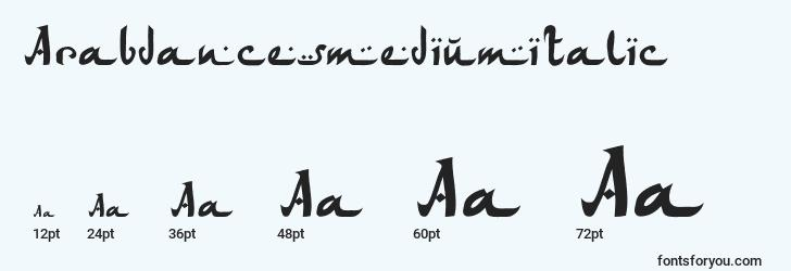 sizes of arabdancesmediumitalic font, arabdancesmediumitalic sizes