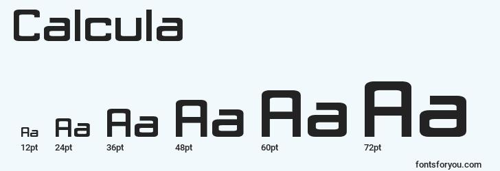 sizes of calcula font, calcula sizes