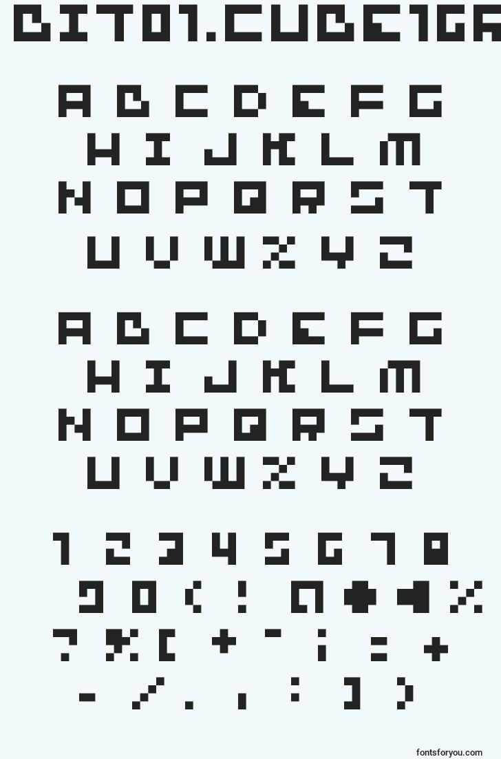 characters of bit01.cube16remix font, letter of bit01.cube16remix font, alphabet of  bit01.cube16remix font