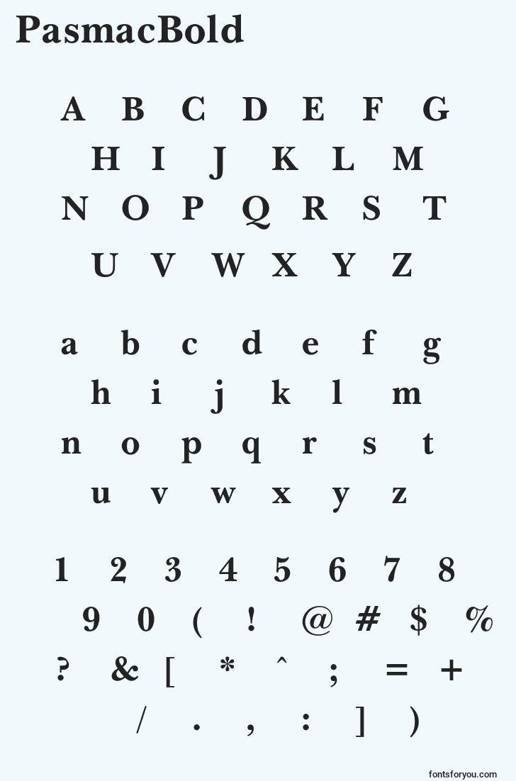characters of pasmacbold font, letter of pasmacbold font, alphabet of  pasmacbold font