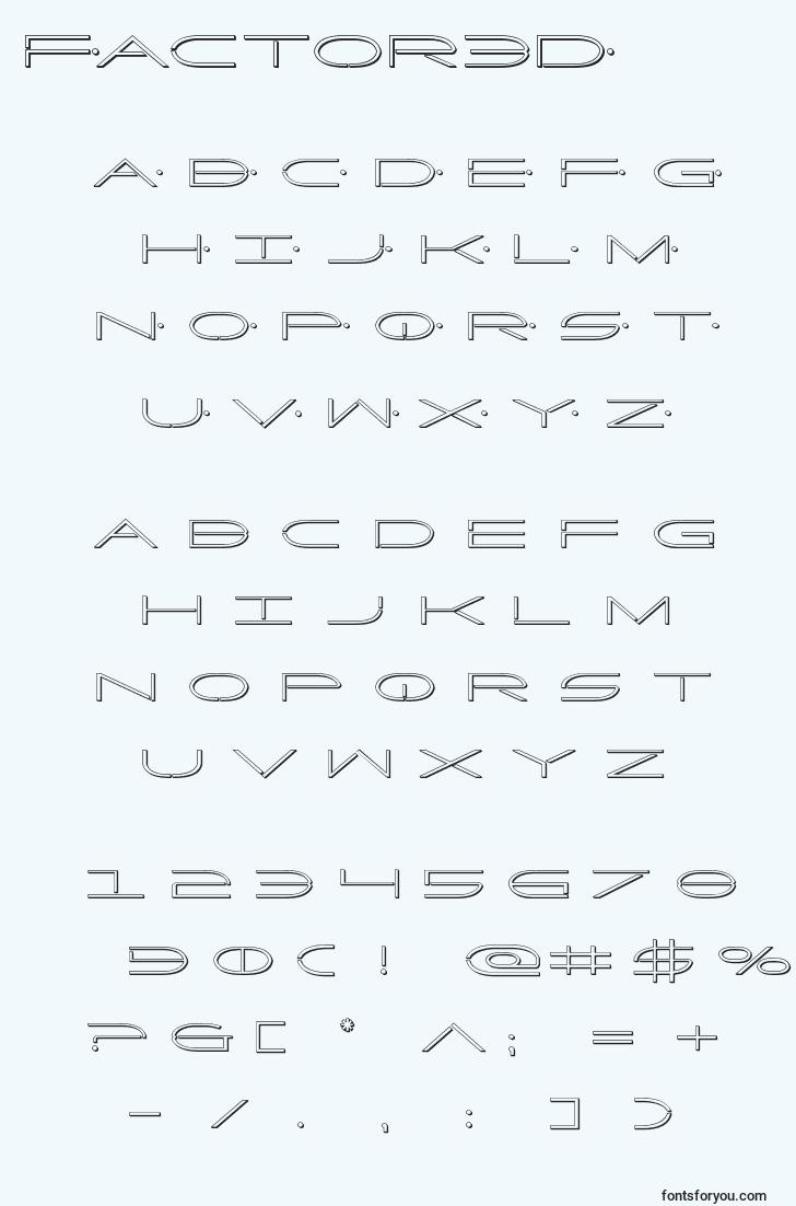 characters of factor3d font, letter of factor3d font, alphabet of  factor3d font