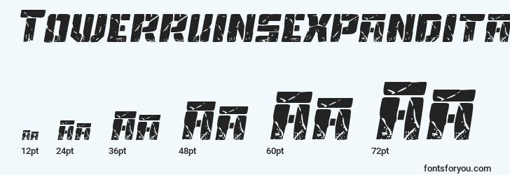 sizes of towerruinsexpandital font, towerruinsexpandital sizes