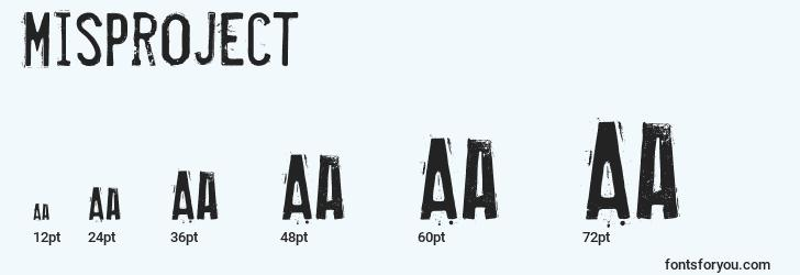 sizes of misproject font, misproject sizes