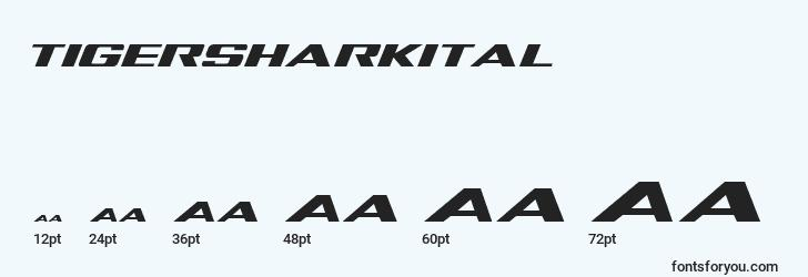 sizes of tigersharkital font, tigersharkital sizes