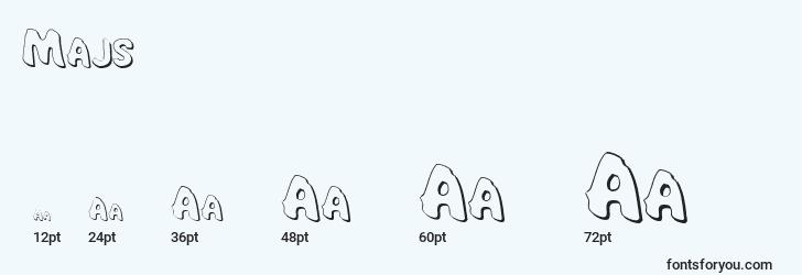 sizes of majs font, majs sizes