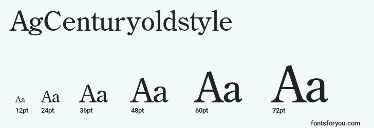 sizes of agcenturyoldstyle font, agcenturyoldstyle sizes