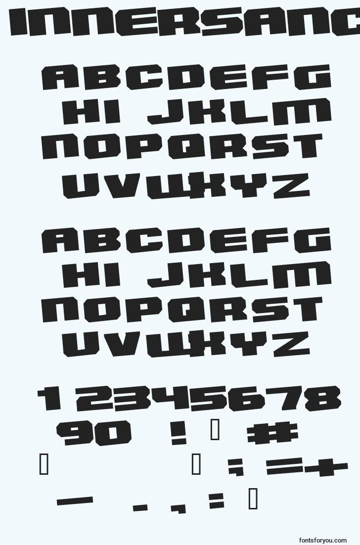 characters of innersanctum font, letter of innersanctum font, alphabet of  innersanctum font