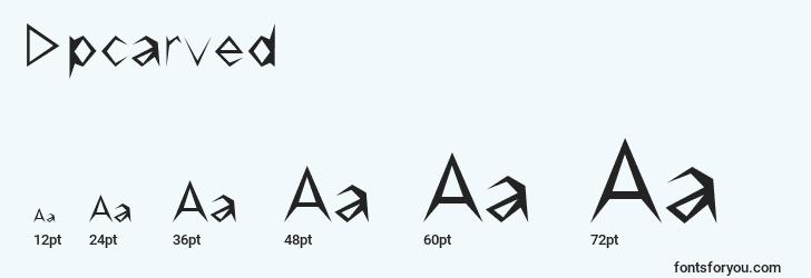 sizes of dpcarved font, dpcarved sizes