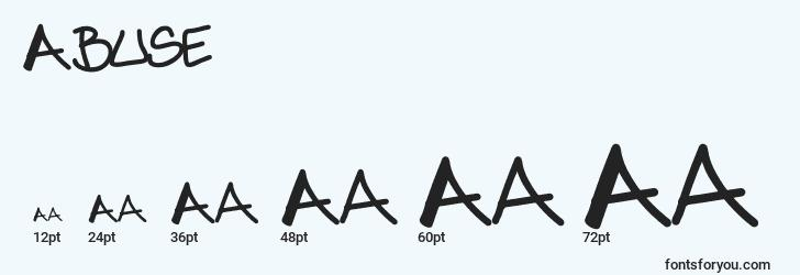 sizes of abuse font, abuse sizes