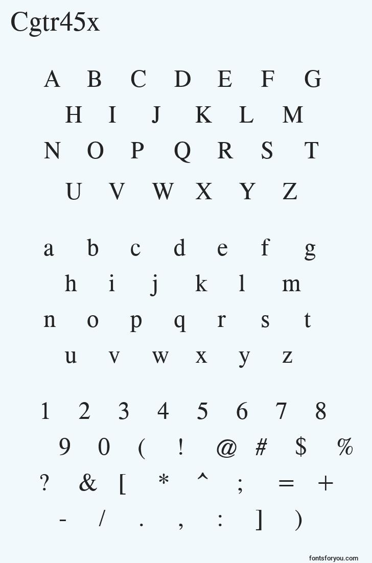 characters of cgtr45x font, letter of cgtr45x font, alphabet of  cgtr45x font