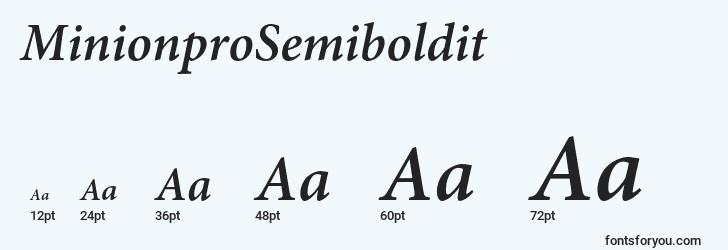 sizes of minionprosemiboldit font, minionprosemiboldit sizes
