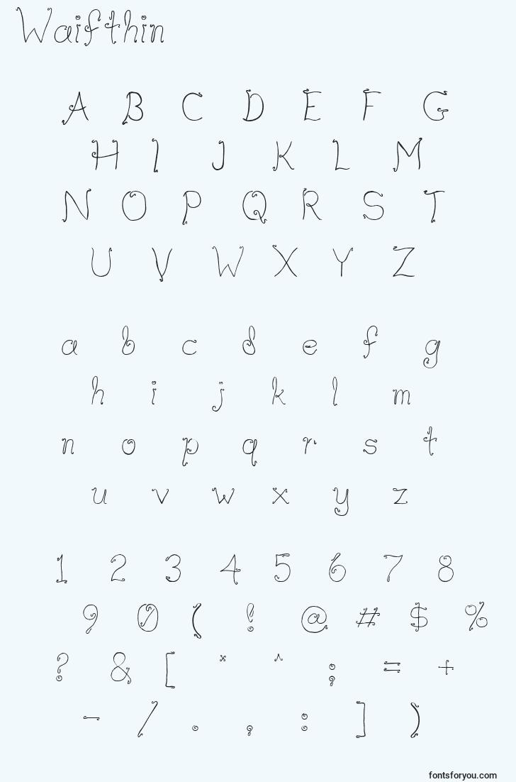 characters of waifthin font, letter of waifthin font, alphabet of  waifthin font