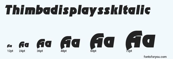 sizes of thimbadisplaysskitalic font, thimbadisplaysskitalic sizes