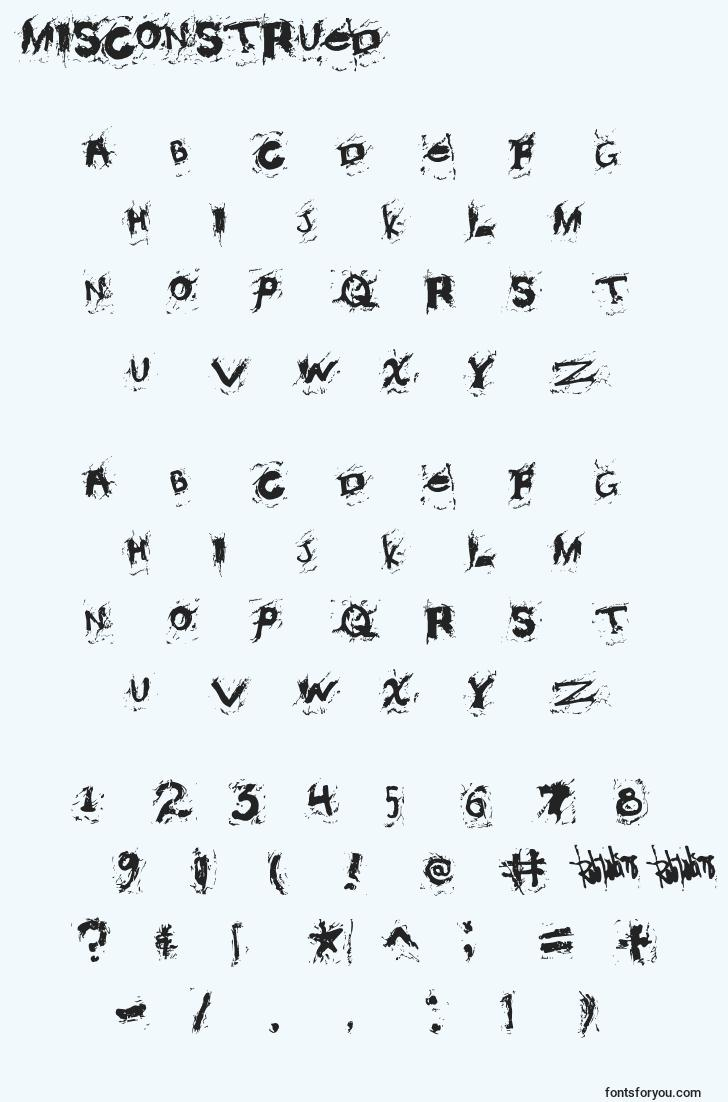 characters of misconstrued font, letter of misconstrued font, alphabet of  misconstrued font