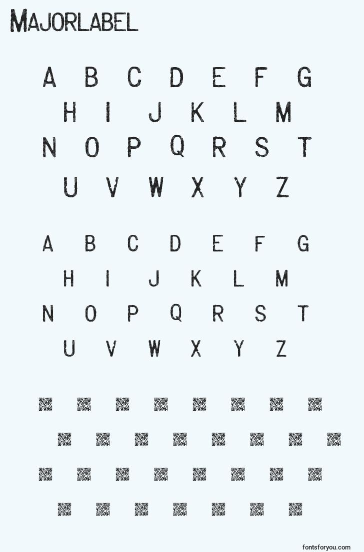 characters of majorlabel font, letter of majorlabel font, alphabet of  majorlabel font