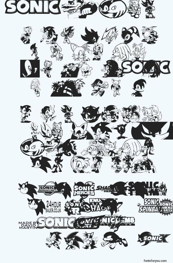 characters of sonic font, letter of sonic font, alphabet of  sonic font